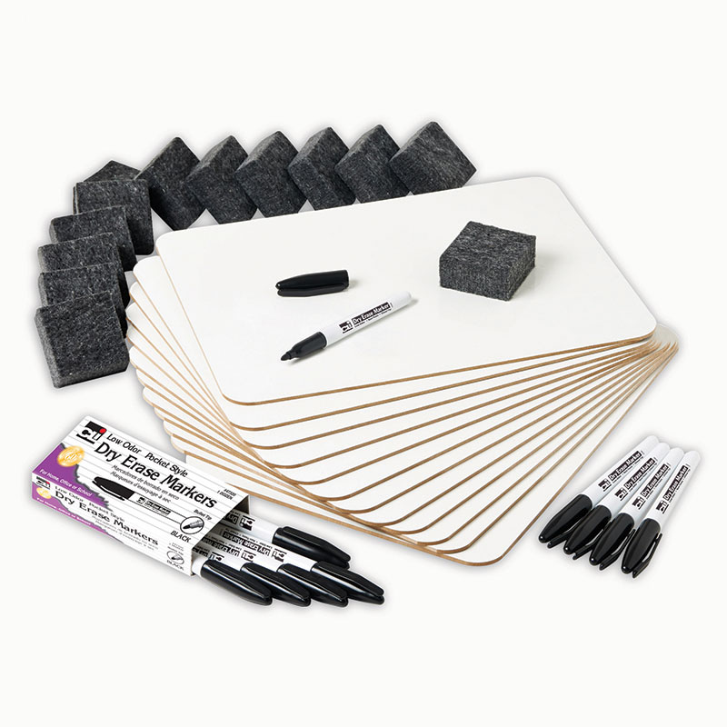 "Charles Leonard Dry Erase Lapboard Class Pack includes 12 Each: Double Sided-Plain/Lined Dry Erase Boards, 2x2"" Felt Erasers & Low Odor, Black AP Certified Dry Erase Markers 36 Pieces/Box (35030)"