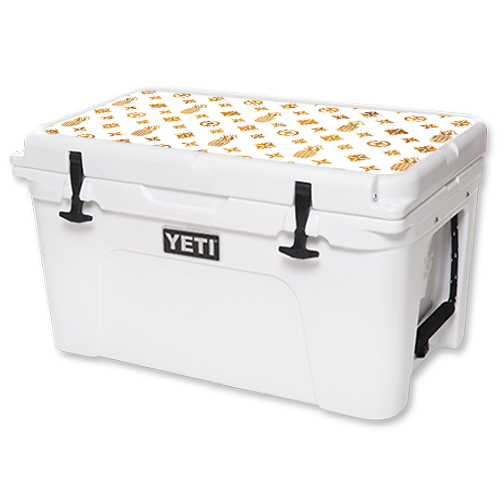 MightySkins Protective Vinyl Skin Decal for YETI Tundra 45 qt Cooler Lid wrap cover sticker skins Gold Pineapples