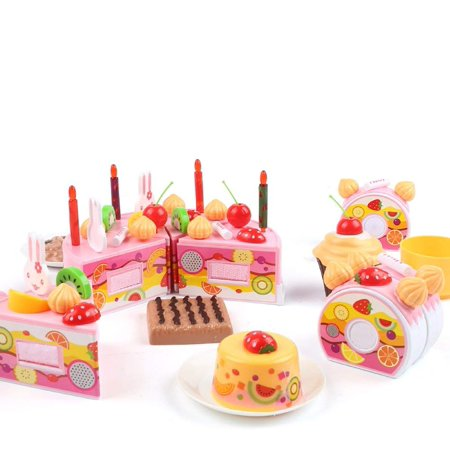 DIY Cutting Birthday Party Cake Pretend Play Kitchen Food Toys Set Girls Gift For Children 75PCS