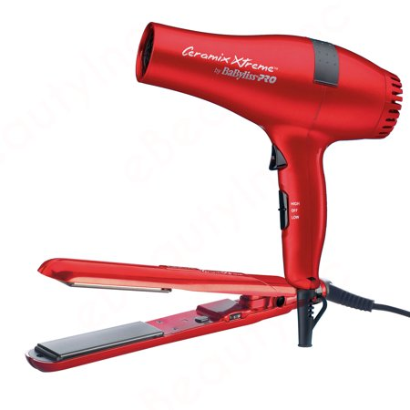 BaByliss Pro Ceramix Xtreme Red Flat Iron & Hair Dryer