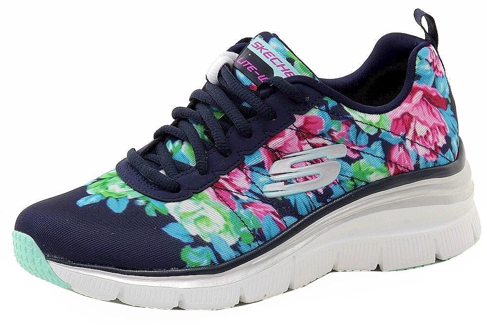 a81cb9c8c8ea Skechers - Skechers Women s Fashion Fit Air-Cooled Memory Foam Navy Floral  Sneakers Shoes - Walmart.com