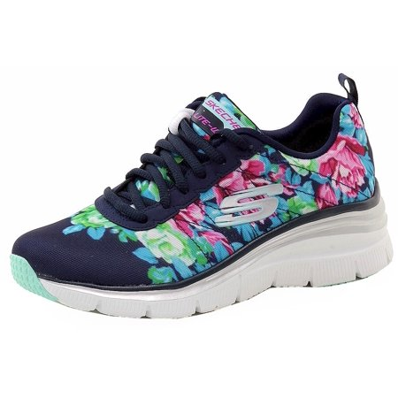SKECHERS - Skechers Women s Fashion Fit Air-Cooled Memory Foam Navy Floral  Sneakers Shoes - Walmart.com 74abffe1e7