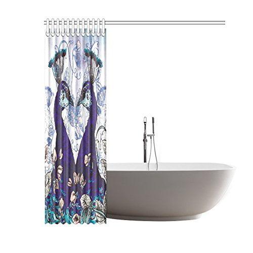 gckg floral shower curtain, peacock elegant flower