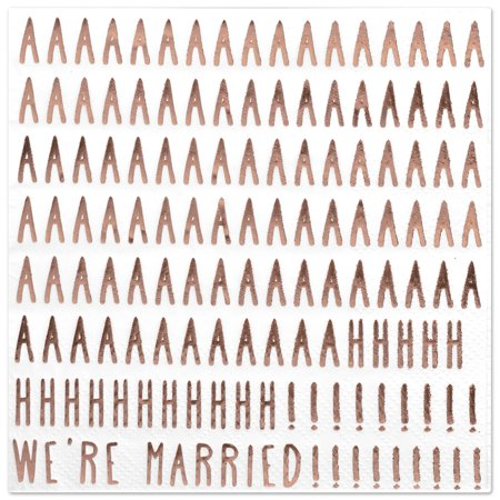 Koyal Wholesale We're Married Funny Quotes Cocktail Napkins, Rose Gold Foil, Bulk 50 Pack Count 3 Ply Napkins](Napkins Wholesale)