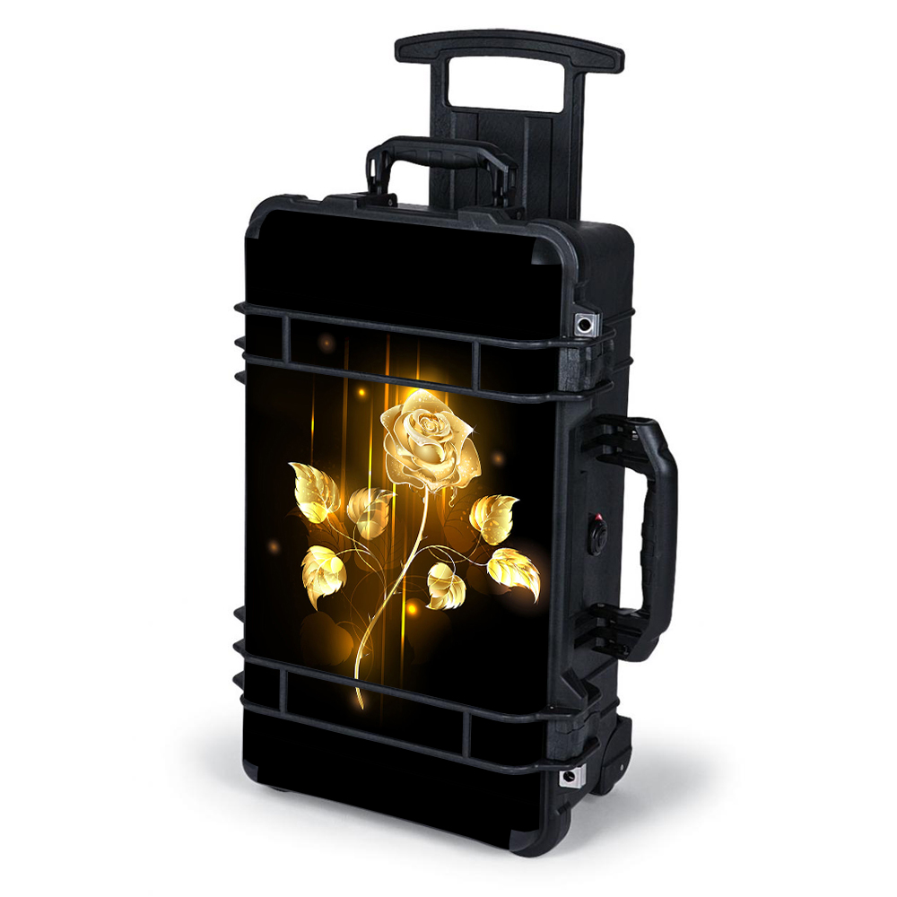 Skin Decal Wrap For Pelican Case 1510 / Gold Rose Glowing