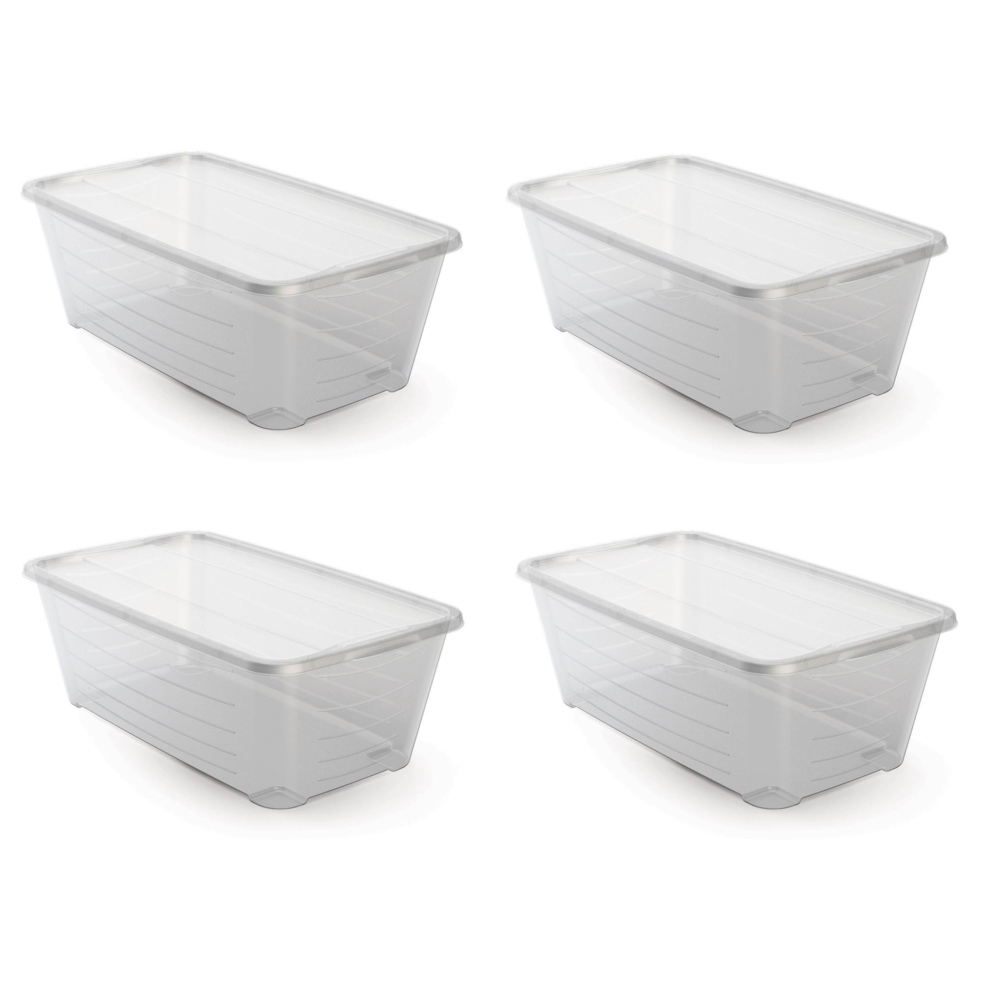 Life Story 6 Quart Rectangular Clear Plastic Protective Storage Shoe Box, 4  Pack
