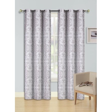 F13 Ivory 2-Pc Printed Blackout Room Darkening Window Curtain Treatment, Set Of Two (2) Floral Swirl Pattern Insulated Thermal Panels 37