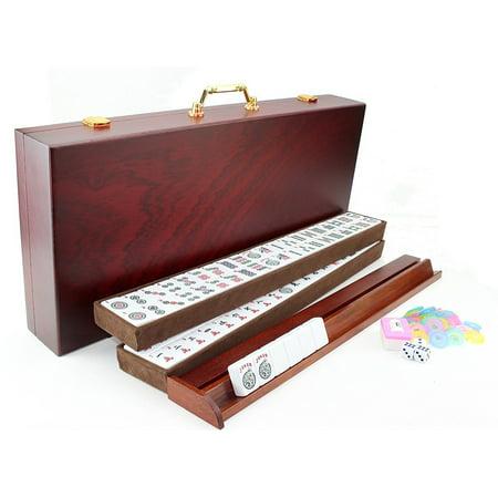166 Tiles American Western Mahjong Game Set with 4 wooden pusher racks with a Wooden - Mahjong Halloween