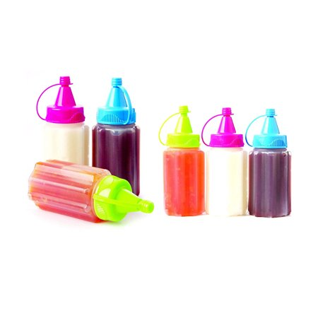 DINY Home & Style Mini Condiment Set of 6 Ketchup Mustard Mayo Squeeze Bottles Travel BBQ School Picnic BPA FREE