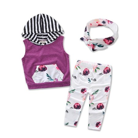 StylesILove Baby Girl Sleeveless Floral Print Hoodie + Long Pants + Headband 3 pcs Outfit (70/ 6-9 Months)](70 Outfits)