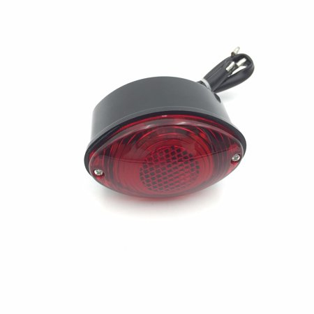 - HTT Motorcycle Black Custom Oval-shaped LED Tail Brake Light Red Lens Integrated License Plate Lamp Fit Bobber Chopper Cruiser Street Bike Honda Kawasaki Suzuki Yamaha