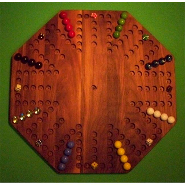 THE PUZZLE-MAN TOYS W-1955 Wooden Marble Game Board - Aggravation - New 22 inch Octagon - 8-Player  6-Hole - Walnut