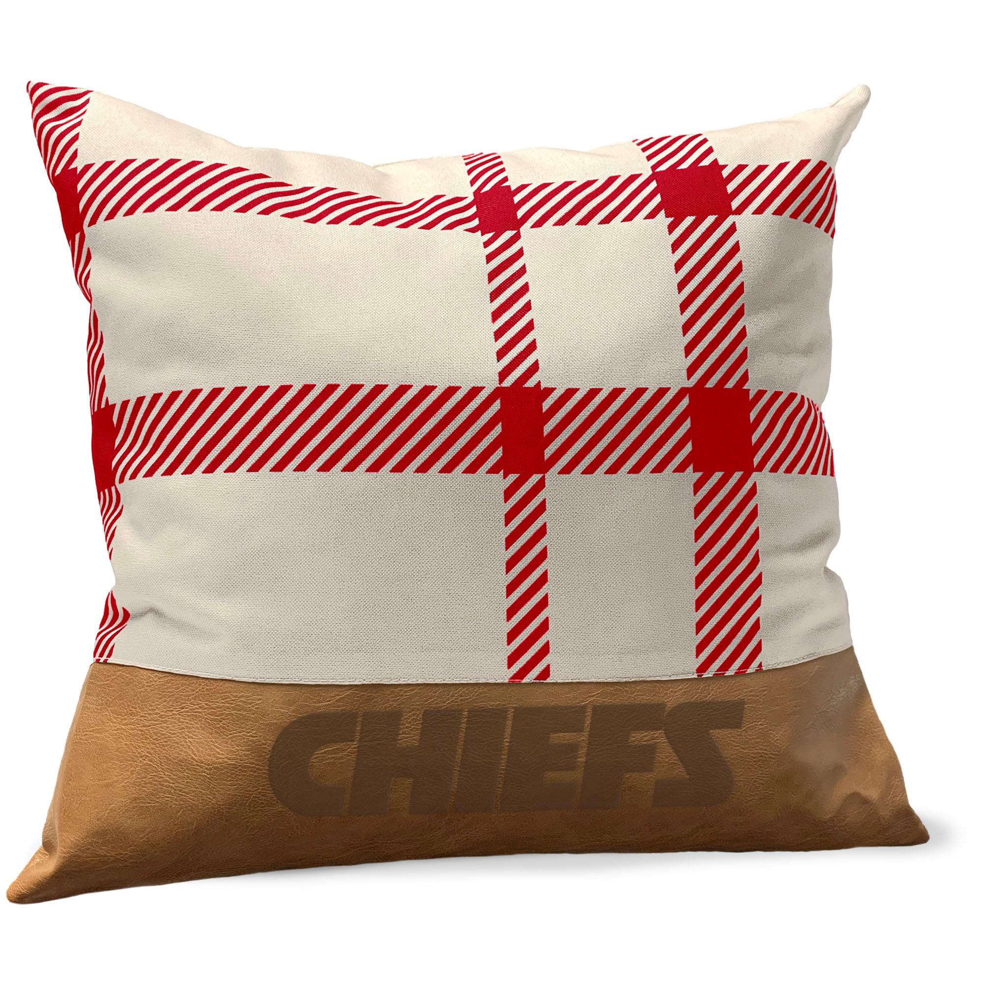 Kansas City Chiefs 18 X 18 Farmhouse Plaid Faux Leather Throw Pillow Walmart Com Walmart Com