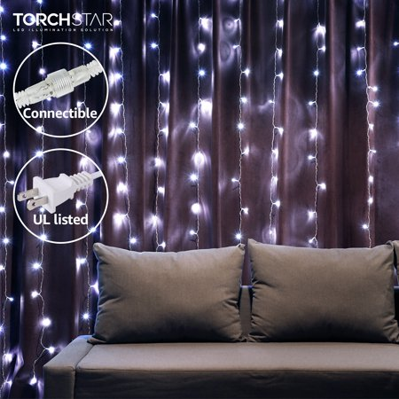 TORCHSTAR 9.8ft x 9.8ft LED Curtain Lights, Starry Christmas String Light, Indoor Decoration for Festival Wedding Party Living Room Bedroom, Daylight ()