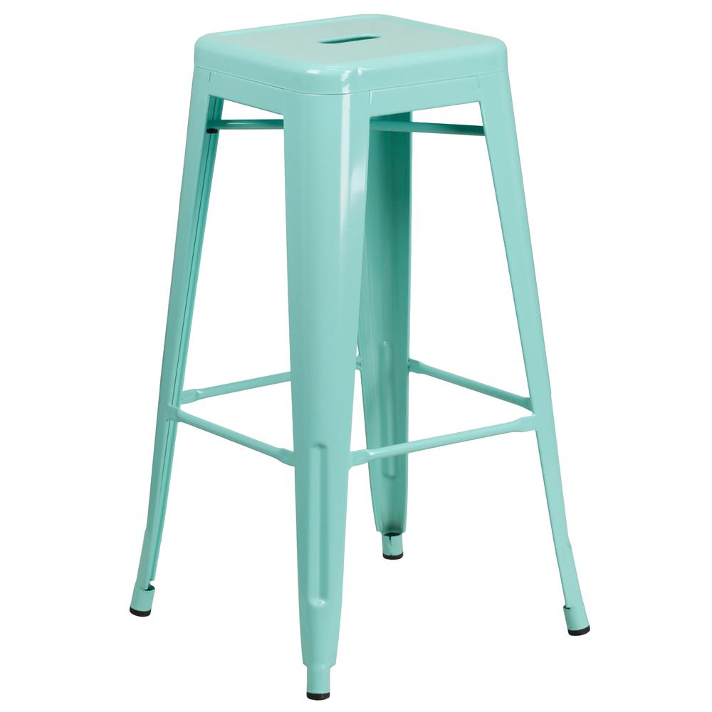 30'' High Backless Mint Green Indoor-Outdoor Barstool