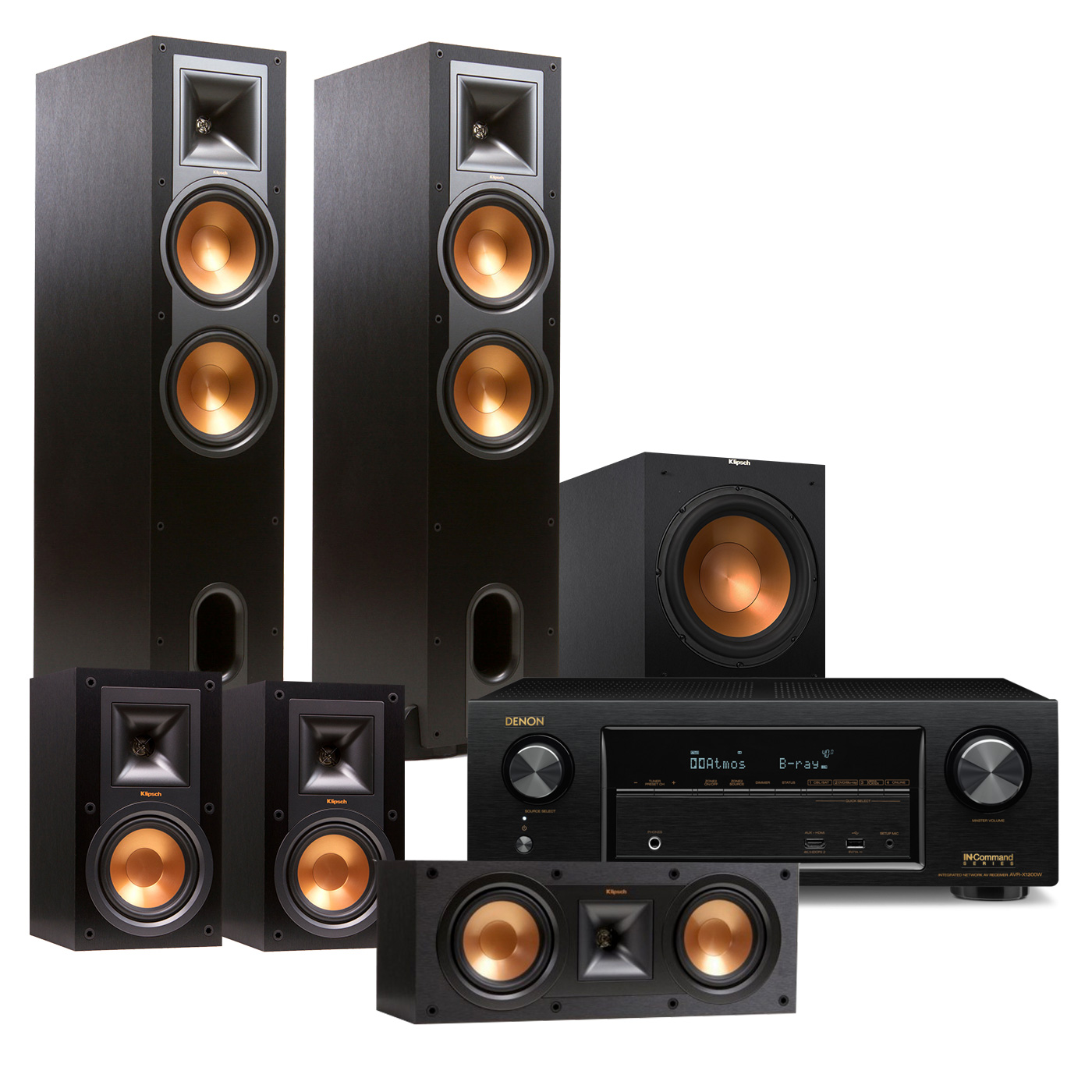 Denon AVR-X1300W 7.2 Channel Receiver with Klipsch R28F 5.1 Speaker Package by Denon