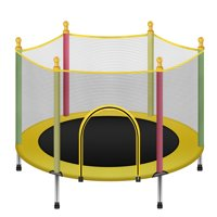 """Kids Youth Jumping 55"""" Round Trampoline Exercise W/ Safety Pad Enclosure Combo, 440LB Capacity for 2-6 Year old Kids"""