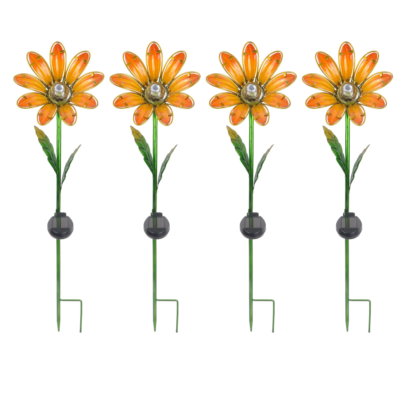Better Homes & Gardens Outdoor Solar Daisy Garden Stake - Set of 4