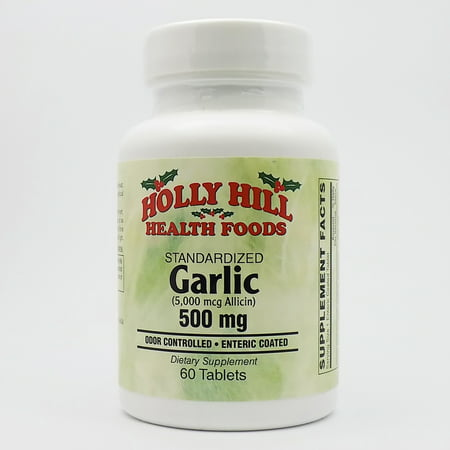 Holly Hill Health Foods, Standardized Garlic (Odor Controlled), 500 MG, 60 Enteric Coated Tablets (Garlic 500 Tablets)