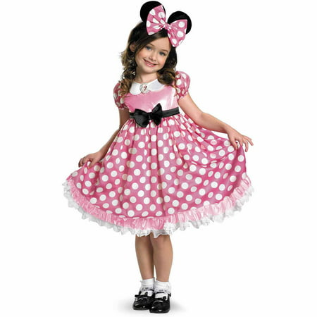 Disney Mickey Mouse Clubhouse Pink Minnie Mouse Glow-in-the-Dark Toddler Halloween Costume, Size 3T-4T (Adult Mickey And Minnie Costumes)