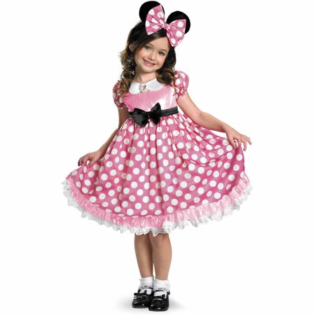 Disney Mickey Mouse Clubhouse Pink Minnie Mouse Glow-in-the-Dark Toddler Halloween Costume, Size 3T-4T (Pink Minnie Mouse Halloween Costume)