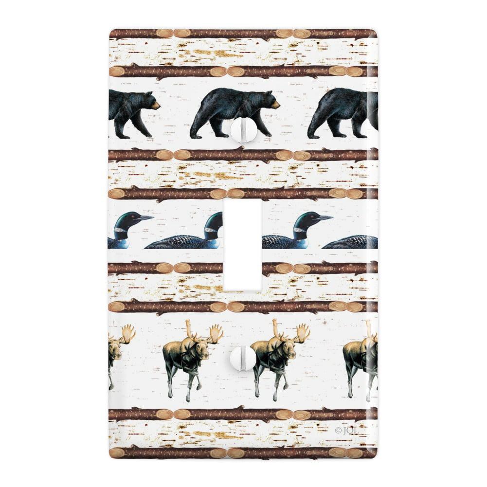 Loon Moose Bear Lodge Log Cabin Plastic Wall Decor Toggle Light Switch Plate Cover Walmart Com Walmart Com
