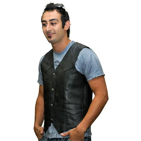 Mens Plain Side Leather Vest VL901S