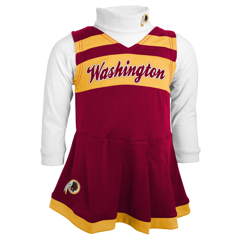 Washington Redskins NFL Toddler Girls Cheer Jumper Dress Set w/ Turtleneck