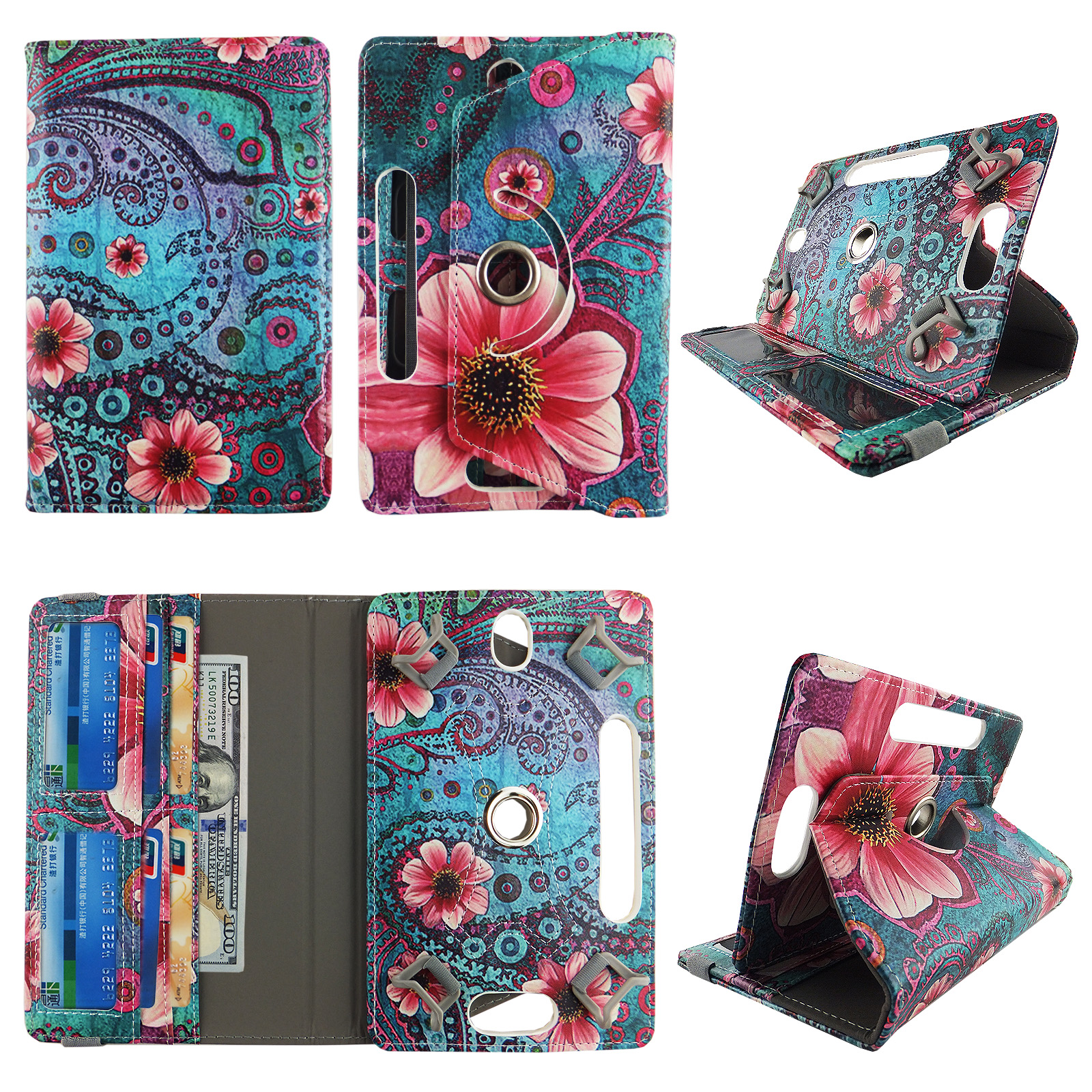 Wallet style for Samsung Galaxy Tab 4 tablet case 7 inch android tablet cases 7 inch Slim fit standing protective rotating universal PU leather cash Pocket cover Pink Flower Vintage