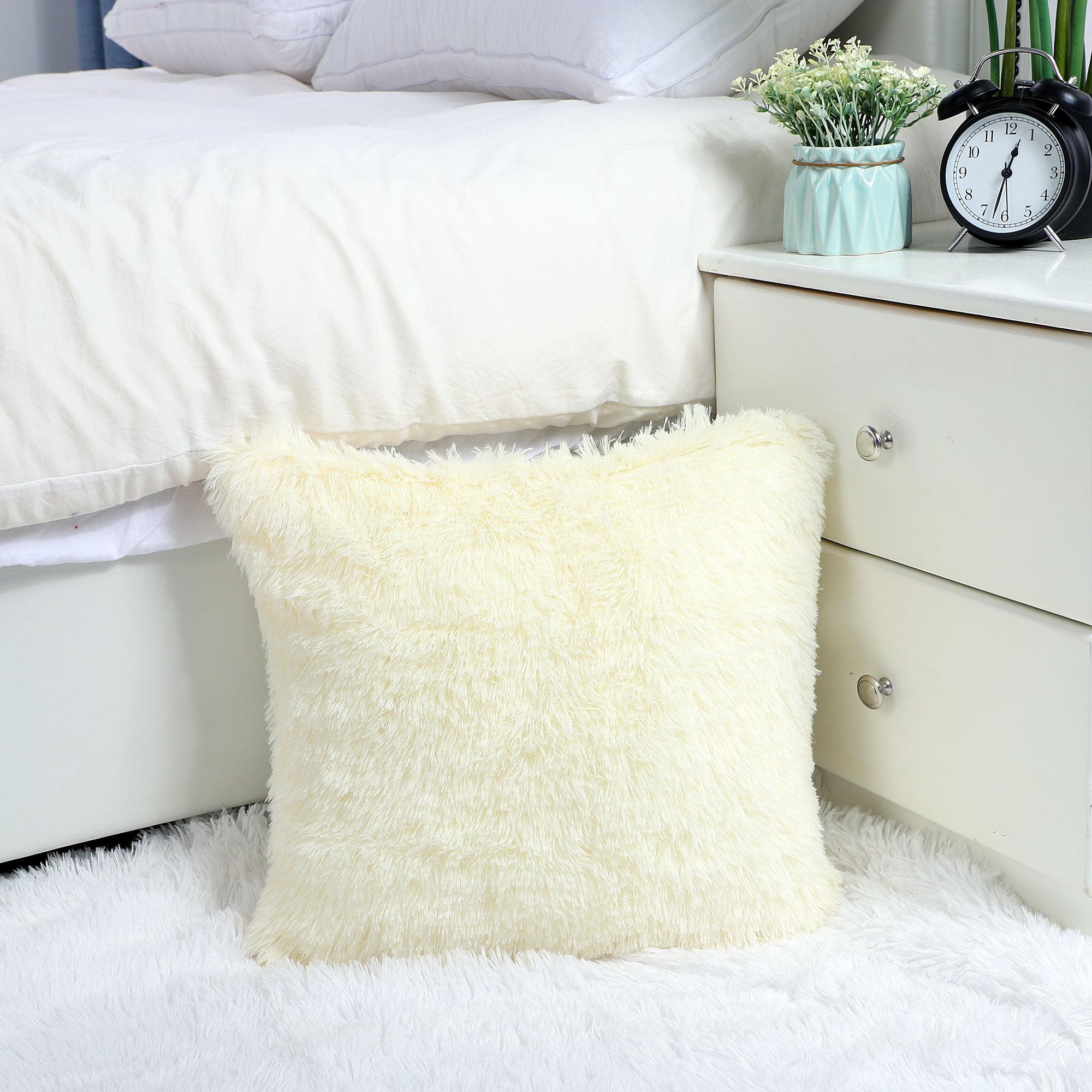 "24"" Throw Pillow Case Faux Fur Fuzzy Cushion Cover Light Yellow - image 4 de 8"