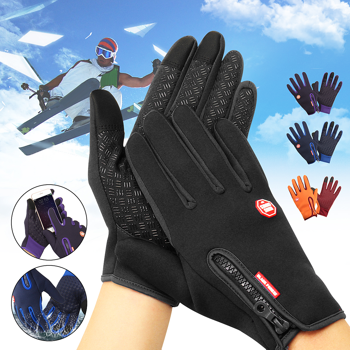 Men Women Winter Warm Windproof Waterproof Thermal Touch Screen Gloves Mittens