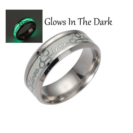 Love Glow in the Dark Stainless Steel Comfort Fit Wedding Band Ring - Ginger Lyne - Glow In The Dark Bands