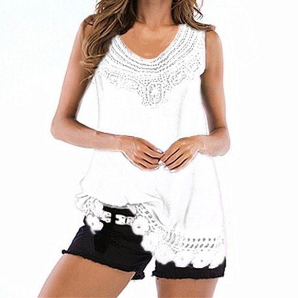 Women's Casual Loose Tank Tops Sleeveless Blouses Lace Hem V Neck Tops