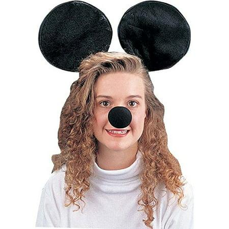 Mickey Minnie Jumbo Black Mouse Ears Headband Nose Animal Costume Kit Set](Mickey Mouse Nose Costume)