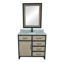 """36""""RUSTIC SOLID FIR SINGLE SINK IRON FRAME VANITY WITH CARRARA WHITE MARBLE TOP-NO FAUCET"""