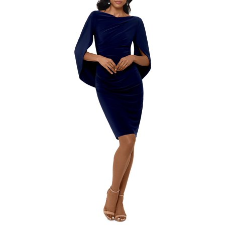 Cape Long Sleeve Sheath Dress