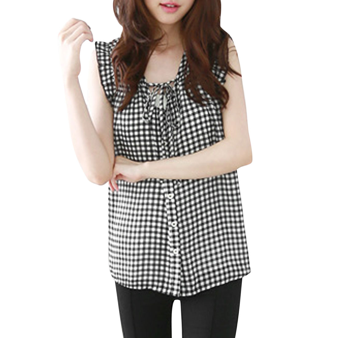 Women's Plaids Button Down Ruffled Sleeve Lace-up Front Top Black White XS