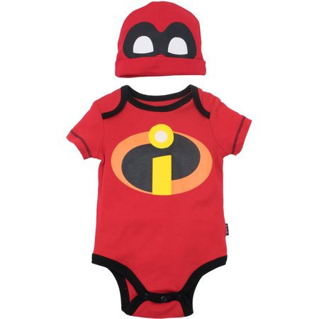 Disney Pixar The Incredibles Baby Costume Bodysuit and Hat Red (3-6 Months) (3-6 Month Old Baby Halloween Costumes)
