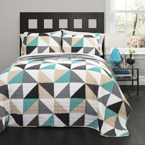 Click here to buy Abner Geo Turquoise Bedding Quilt Set by Generic.