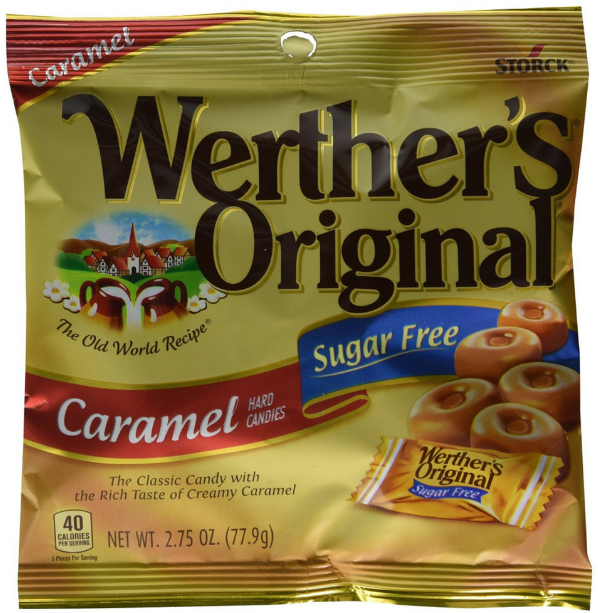 Werthers Original Sugar Free Caramel Hard Candies 12 pack (Pack of 4)