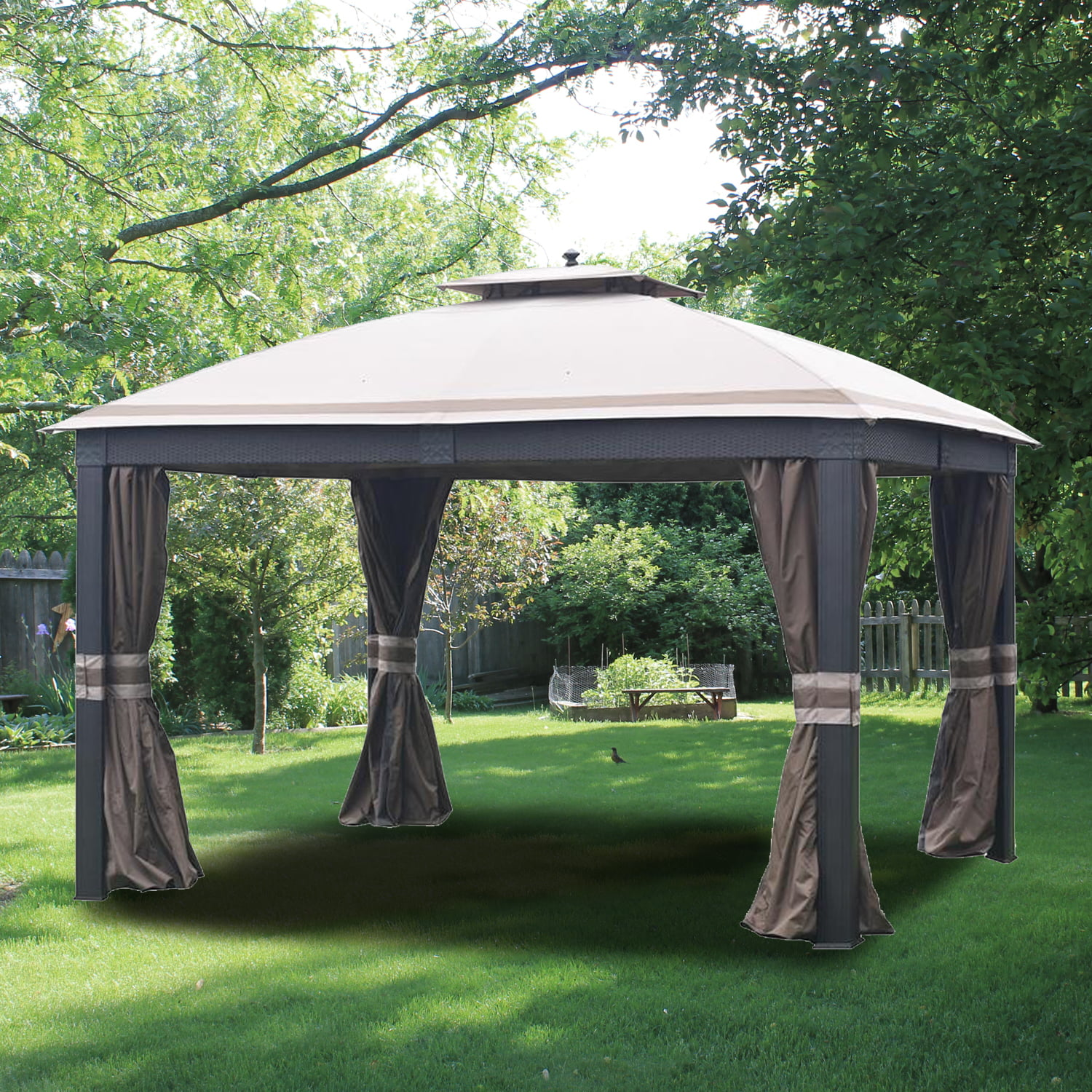 Garden Winds Replacement Canopy Top For Allen Roth Wicker 10x12 Gazebo L GZ815PCO F