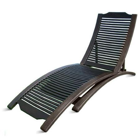 Folding hardwood chaise lounge dark for Chaise walmart