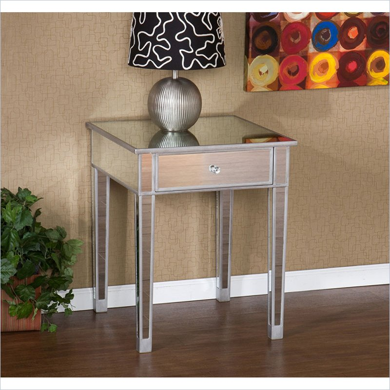 Holly & Martin Montrose Painted Silver Wood Trim Mirrored Accent Table