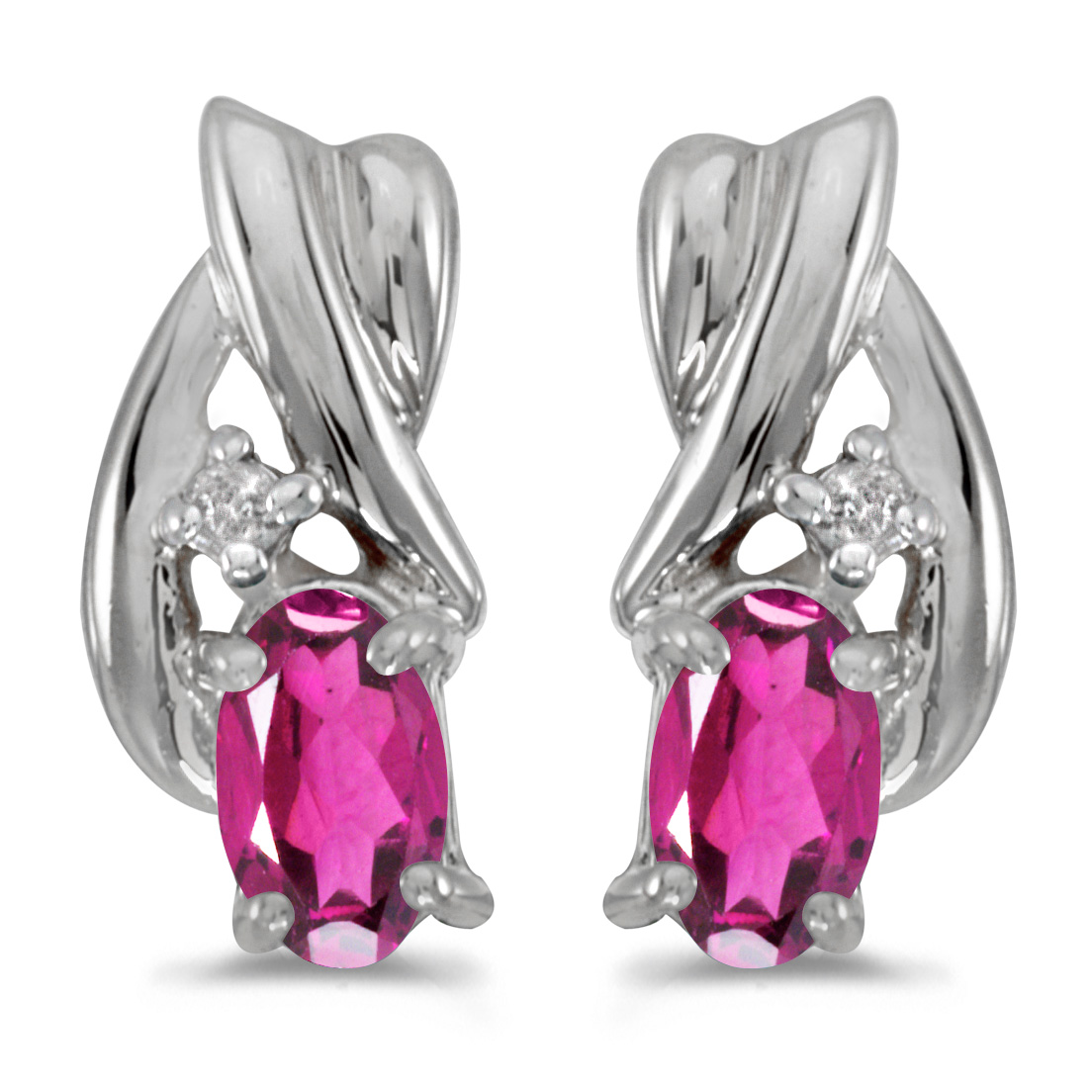 10k White Gold Oval Pink Topaz And Diamond Earrings by