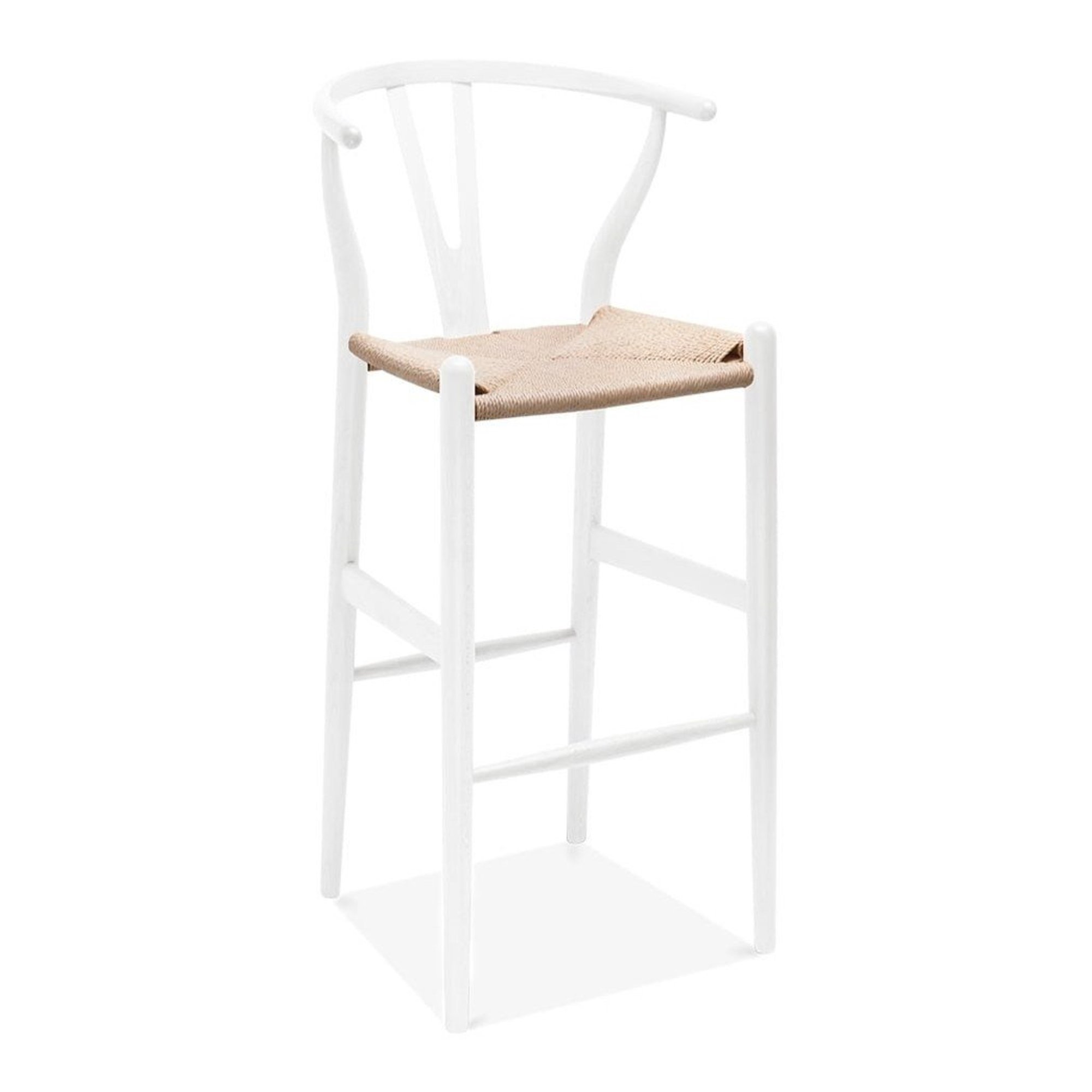 Wishbone Y Chair, Bar Stool, White & Natural Cord   Walmart Canada