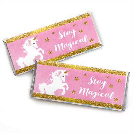 Rainbow Unicorn - Candy Bar Wrapper Magical Unicorn Baby Shower or Birthday Party Favors - Set of 24 - Unicorn Party Ideas