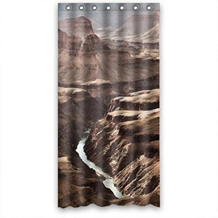 HelloDecor Brown Mountains Narrow River Shower Curtain Polyester Fabric Bathroom Decorative Curtain Size 36x72 Inches