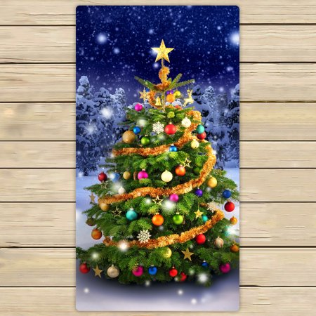 Colorful Christmas Tree Images.Ykcg Magnificent Colorful Christmas Tree Winter Snow Stars Sky Hand Towel Beach Towels Bath Shower Towel Bath Wrap For Home Outdoor Travel Use 30x56