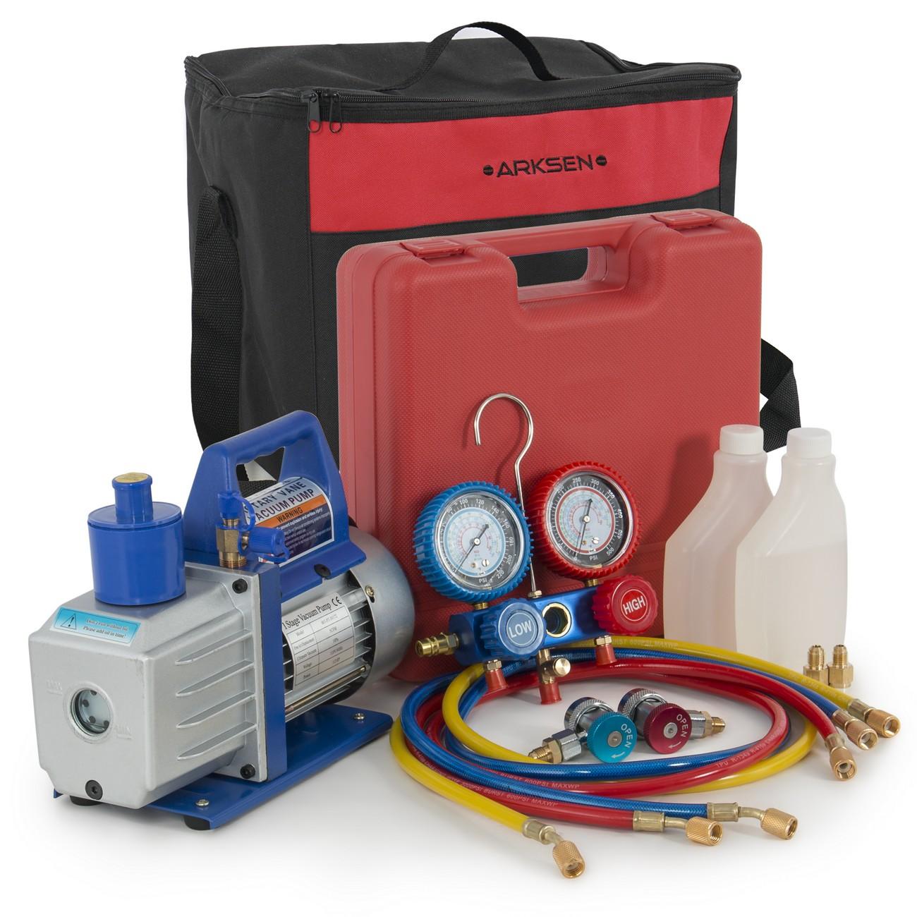 ARKSEN 1/2HP Vacuum Pump R134a Manifold Gauge Diagnostic Refrigerant w/ Carrying Tote Combo Set