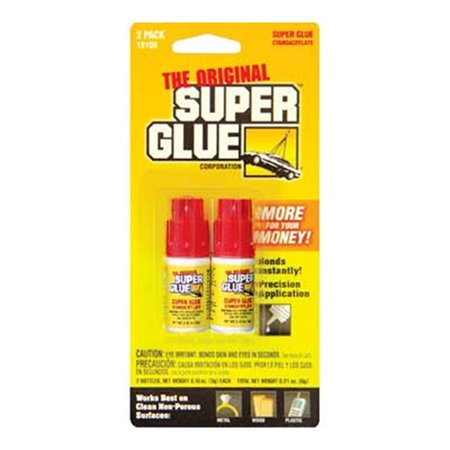 Super Glue 19108 Cyanoacrylate Glue Double Pack, 0.10 oz Spill Resistant Bottle